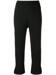 Theory Straight Cropped Trousers Black