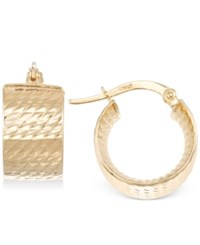 Macy's Textured Chunky Hoop Earrings In 14K Gold Yellow Gold