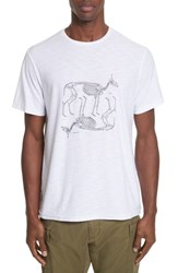 Ovadia And Sons Men's Animal Skeleton Graphic T Shirt White