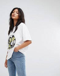 Cheap Monday Artist Collab Smiling Face Logo T Shirt White