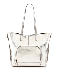 Milly Rivington Metallic Leather Tote Bag Champagne