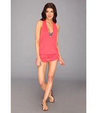 Luli Fama Cosita Buena T Back Romper Cover Up Bombshell Red Women's Swimsuits One Piece