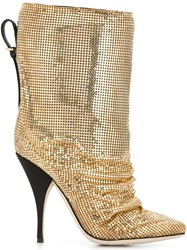 Marco De Vincenzo Metal Embellished Boots Metallic