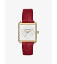 Lake Pave Gold Tone And Embossed Leather Watch