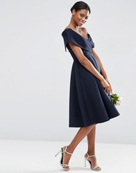 Asos Wedding Scuba Off The Shoulder Midi Prom Dress Navy