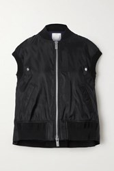 Sacai Ribbed Jersey And Grosgrain Trimmed Shell Vest Black