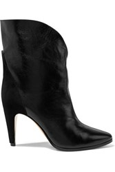 Givenchy Gv3 Suede Trimmed Textured Leather Ankle Boots Black