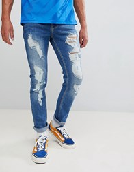 Brooklyn Supply Co. Co Skinny Jeans In Stonewash Blue With Rips Stonewash Blue