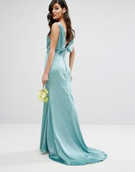 Jarlo Cowl Front Maxi Dress With Fishtail And Button Up Back Green