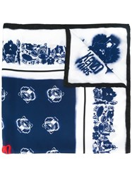 Kenzo Spray Paint Effect Multi Logo Scarf Blue