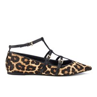 Michael Michael Kors Women's Marta Leopard Calf Pointed Flats Natural
