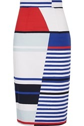Milly Marina Striped Stretch Cotton Pencil Skirt White