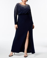 Betsy And Adam Plus Size Embellished Gown Navy