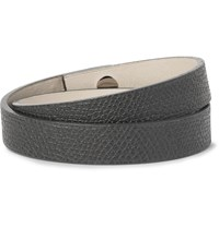 Valextra Pebble Grain Leather Wrap Bracelet Charcoal