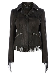 Karen Millen Leather Fringe Jacket Black