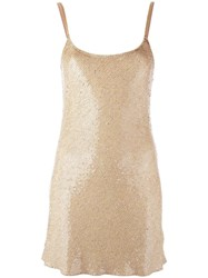 Ashish Sequined Slip Dress Nude Neutrals