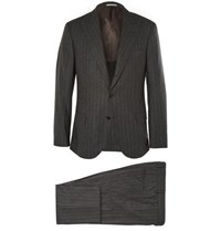 Brunello Cucinelli Grey Slim Fit Wool Silk And Cashmere Blend Suit Charcoal