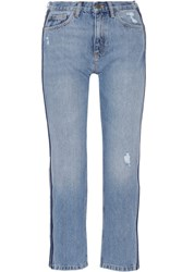 Mih Jeans M.I.H Jeanne Cropped Striped Straight Leg Mid Denim