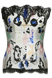 Roberto Cavalli Lace Trimmed Printed Silk Blend Crepe De Chine Bustier Off White Off White