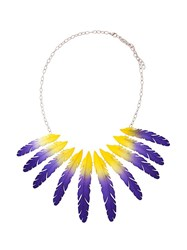 Olgafacesrok Feather Pendant Chain Necklace Blue
