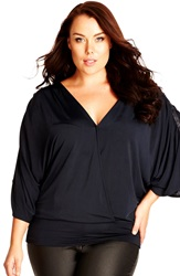 City Chic 'Vixen' Banded Hem Surplice Top Plus Size Black