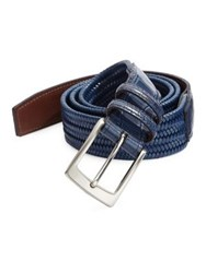 Saks Fifth Avenue Collection Exotic Tab Stretch Leather Belt Navy
