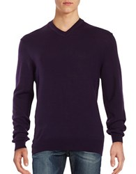 Black Brown Merino Wool V Neck Sweater Plum