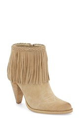 Women's Very Volatile 'Shakee' Fringe Bootie Beige Faux Leather