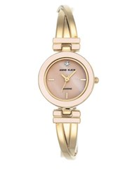 Anne Klein Metal Bangle And Mother Of Pearl Dial Watch Gold