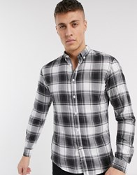 Tom Tailor Asymmetric Check Button Down Shirt In Black
