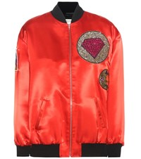 Saint Laurent Satin Bomber Jacket With Applique Red