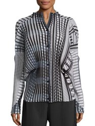Issey Miyake Pleated Button Front Shirt Black Grey