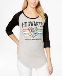 Bioworld Juniors' Harry Potter Hogwarts Graphic Baseball Tunic T Shirt