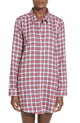 Bp. Undercover Flannel Night Shirt Red Beauty Tri Gingham