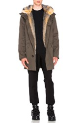Yves Salomon Cotton Parka With Fox Fur In Green