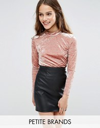New Look Petite Crushed Velvet High Neck Top Shell Pink