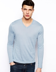 Dkny Knitwear V Neck Logo Blue