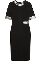 Thierry Mugler Mirrored Faux Leather Trimmed Stretch Crepe Dress Black