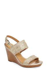 Jack Rogers Women's 'Vanessa' Wedge Sandal Platinum Leather