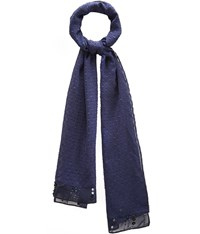 Cc Navy Dobby Sequin End Scarf