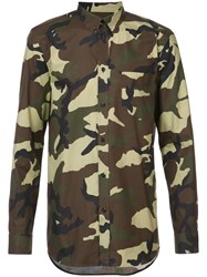 Givenchy Camouflage Shirt Men Cotton 40 Green