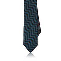 Dries Van Noten Men's Psychedelic Jacquard Necktie Green