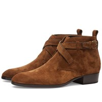 Saint Laurent Wyatt 30 Otterproof Suede Buckle Boot Brown