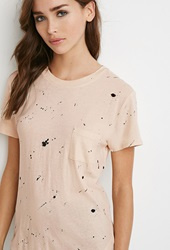 Forever 21 Spatter Print Pocket Tee Peach Black
