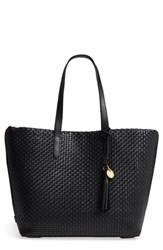 Cole Haan Payson Rfid Woven Leather Tote Black