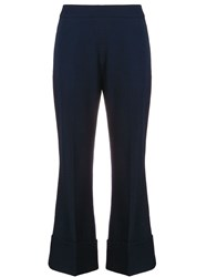 Stella Mccartney Flared Cropped Trousers Blue