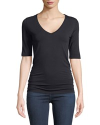 Majestic Elbow Sleeve Viscose Jersey V Neck Tee Black