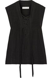 Etoile Isabel Marant Kenn Lace Up Voile Top Black