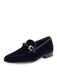 Salvatore Ferragamo Lord 2 Velvet Slip On Loafer Blue Marine Medium Blue