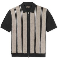 Beams Plus Slim Fit Striped Cotton And Linen Blend Zip Up Polo Shirt Black